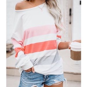 Long Sleeve Oversized Striped Top